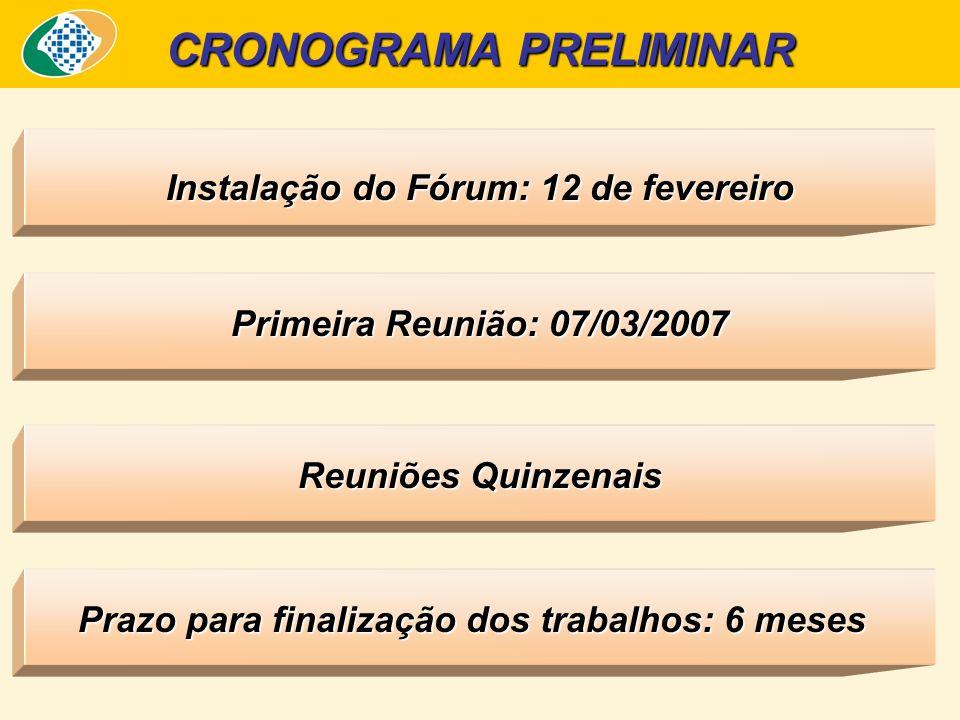 Prazo para finalização dos trabalhos: 6 meses CRONOGRAMA PRELIMINAR Reuniões Quinzenais Primeira Reunião: 07/03/2007 Instalação do Fórum: 12 de fevereiro