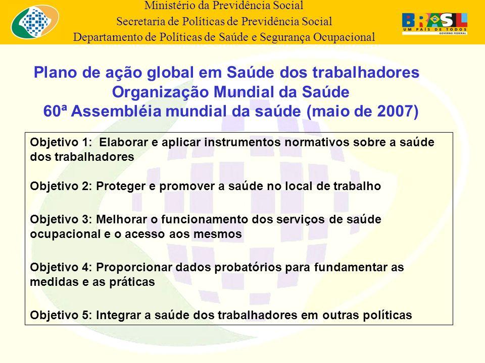 Ministério da Previdência Social Secretaria de Políticas de Previdência Social Departamento de Políticas de Saúde e Segurança Ocupacional Objetivo 1: