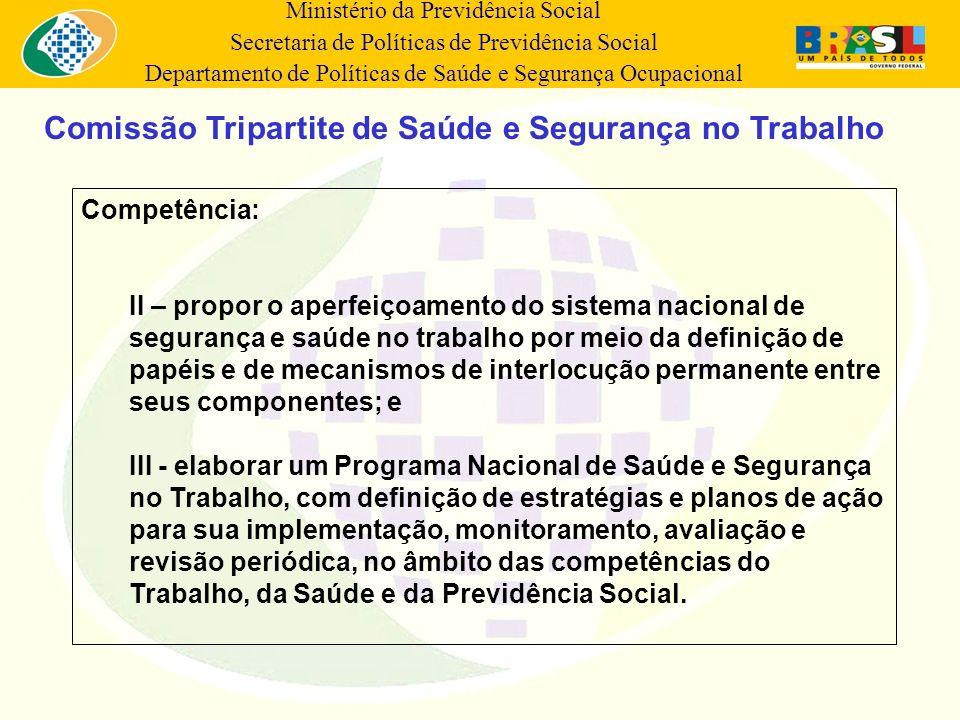 Ministério da Previdência Social Secretaria de Políticas de Previdência Social Departamento de Políticas de Saúde e Segurança Ocupacional Competência: