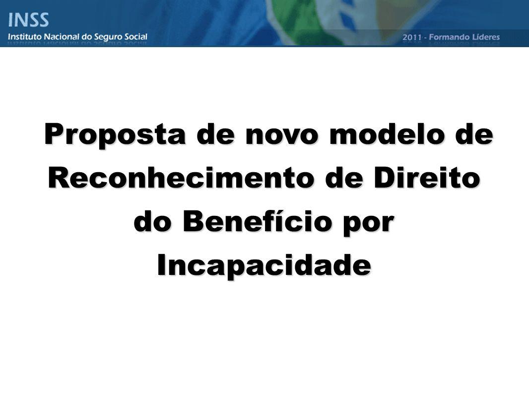 Proposta de novo modelo de Reconhecimento de Direito do Benefício por Incapacidade Proposta de novo modelo de Reconhecimento de Direito do Benefício p