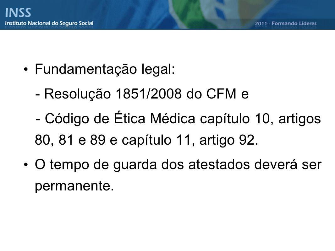 Fundamentação legal: - Resolução 1851/2008 do CFM e - Código de Ética Médica capítulo 10, artigos 80, 81 e 89 e capítulo 11, artigo 92. O tempo de gua