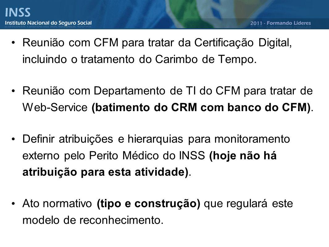 Reunião com CFM para tratar da Certificação Digital, incluindo o tratamento do Carimbo de Tempo. Reunião com Departamento de TI do CFM para tratar de