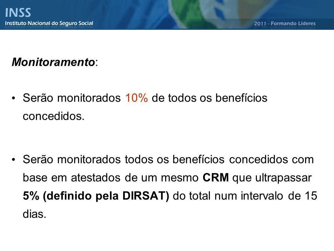 Monitoramento: Serão monitorados 10% de todos os benefícios concedidos. Serão monitorados todos os benefícios concedidos com base em atestados de um m