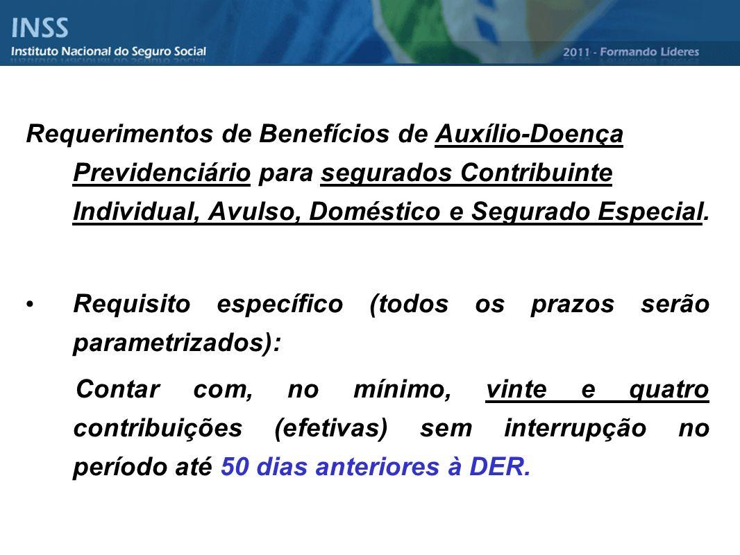 Requerimentos de Benefícios de Auxílio-Doença Previdenciário para segurados Contribuinte Individual, Avulso, Doméstico e Segurado Especial. Requisito