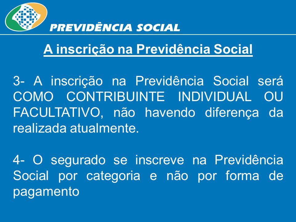 A inscrição na Previdência Social 3- A inscrição na Previdência Social será COMO CONTRIBUINTE INDIVIDUAL OU FACULTATIVO, não havendo diferença da real