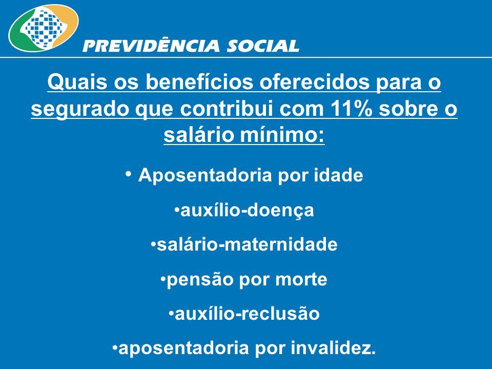 Quais os benefícios oferecidos para o segurado que contribui com 11% sobre o salário mínimo: Aposentadoria por idade auxílio-doença salário-maternidad