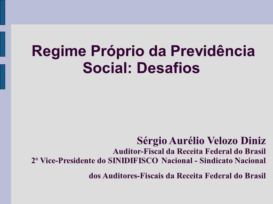 Regime Próprio da Previdência Social: Desafios Sérgio Aurélio Velozo Diniz Auditor-Fiscal da Receita Federal do Brasil 2 o Vice-Presidente do SINIDIFI