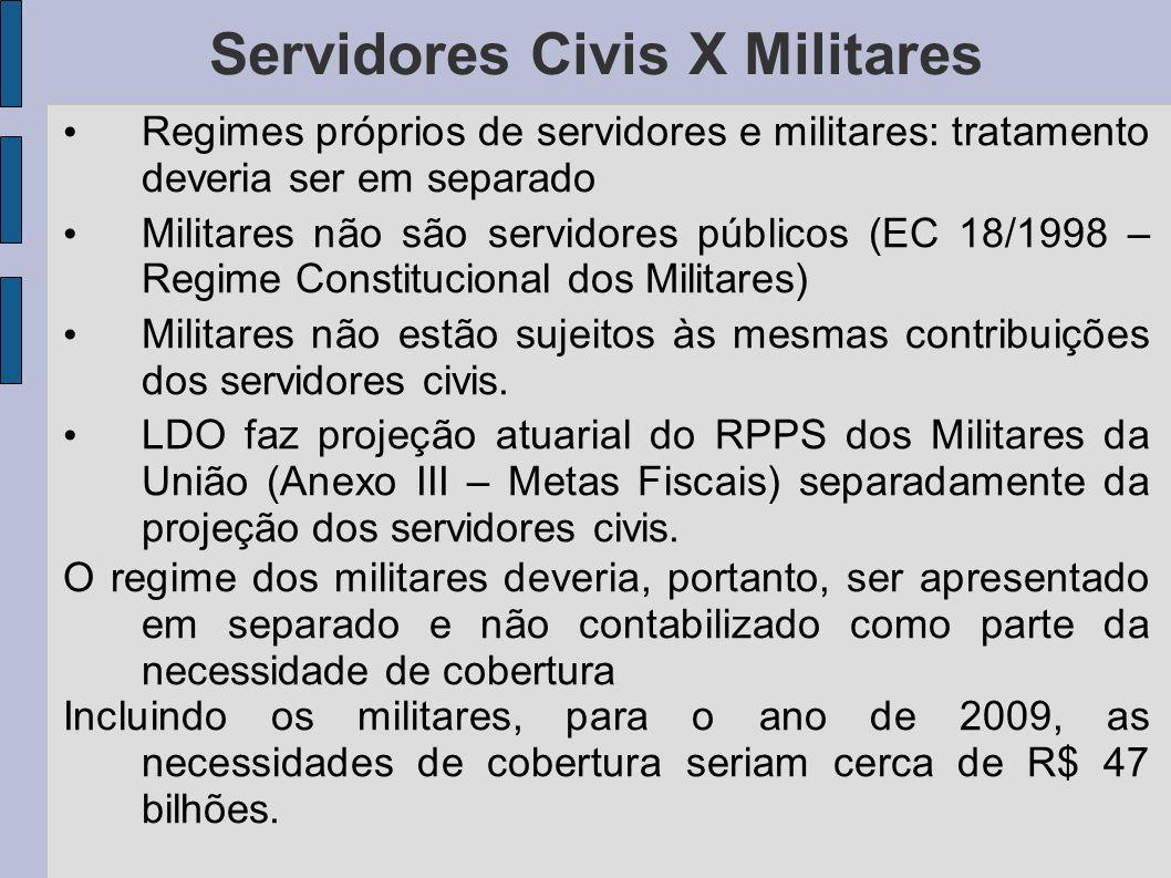 Regimes próprios de servidores e militares: tratamento deveria ser em separado Militares não são servidores públicos (EC 18/1998 – Regime Constitucion