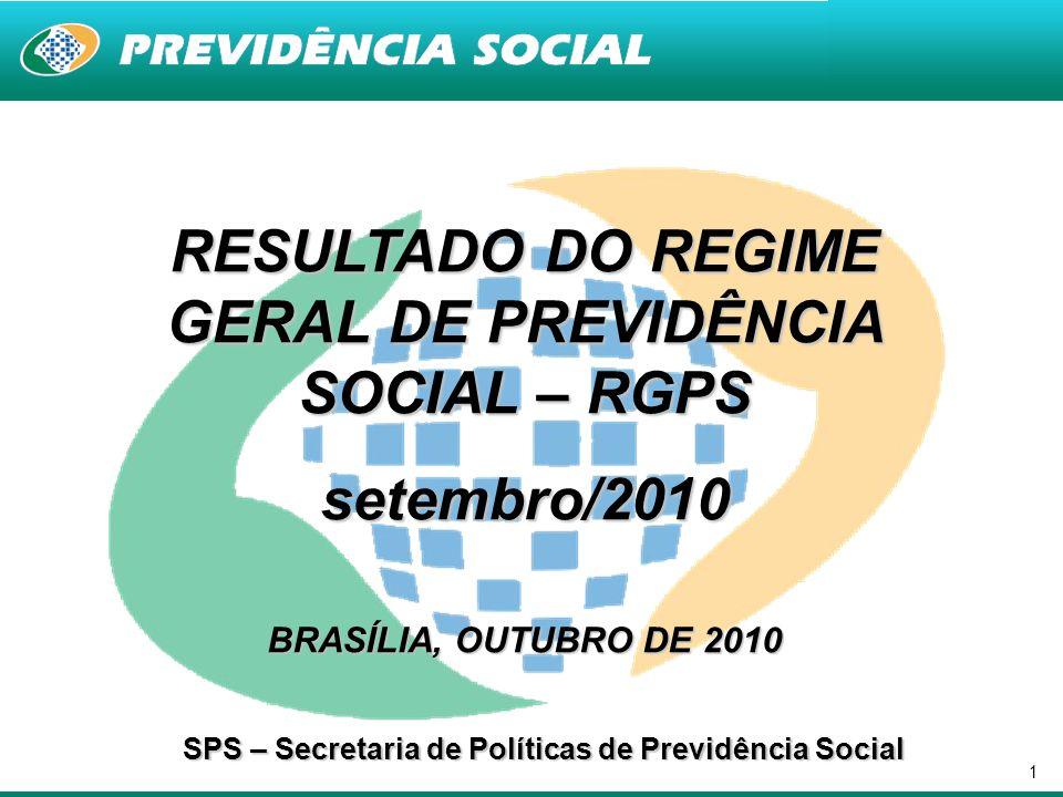 1 RESULTADO DO REGIME GERAL DE PREVIDÊNCIA SOCIAL – RGPS setembro/2010 BRASÍLIA, OUTUBRO DE 2010 SPS – Secretaria de Políticas de Previdência Social