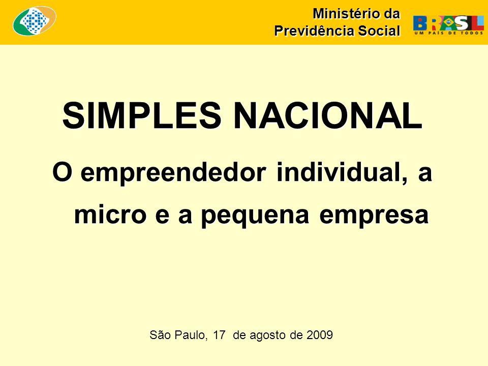 Ministério da Previdência Social SIMPLES NACIONAL O empreendedor individual, a micro e a pequena empresa São Paulo, 17 de agosto de 2009