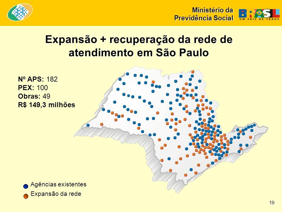 Ministério da Previdência Social Nº APS: 182 PEX: 100 Obras: 49 R$ 149,3 milhões Expansão + recuperação da rede de atendimento em São Paulo Agências e