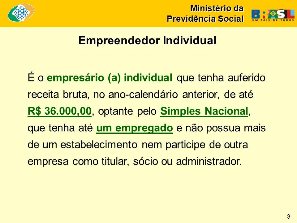 Ministério da Previdência Social É o empresário (a) individual que tenha auferido receita bruta, no ano-calendário anterior, de até R$ 36.000,00, opta