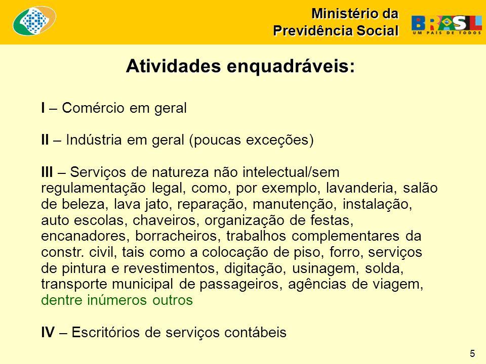 Ministério da Previdência Social I – Comércio em geral II – Indústria em geral (poucas exceções) III – Serviços de natureza não intelectual/sem regula