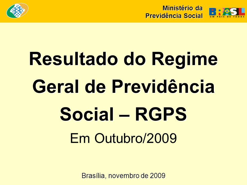 Resultado do Regime Geral de Previdência Social – RGPS Resultado do Regime Geral de Previdência Social – RGPS Em Outubro/2009 Ministério da Previdência Social Brasília, novembro de 2009