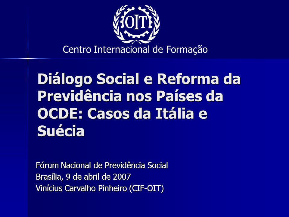 Reforma Berlusconi (2004/2005) – Legge delega, aprovada em 2004, entra em vigor em janeiro de 2008 Regra permanente: Regra permanente: –Aumento da idade para aposentadoria passando do regime flexível da reforma Dini ( 57-65) para 65 (H) e 60 (M).