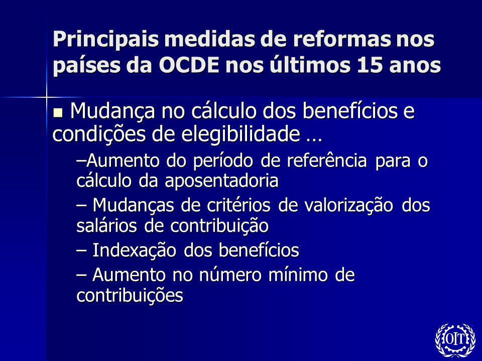 Principais medidas de reformas nos países da OCDE nos últimos 15 anos Mudança no cálculo dos benefícios e condições de elegibilidade … Mudança no cálc