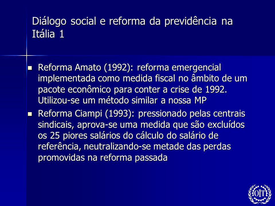 Diálogo social e reforma da previdência na Itália 1 Reforma Amato (1992): reforma emergencial implementada como medida fiscal no âmbito de um pacote e