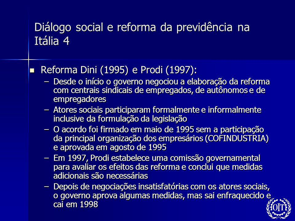 Diálogo social e reforma da previdência na Itália 4 Reforma Dini (1995) e Prodi (1997): Reforma Dini (1995) e Prodi (1997): –Desde o início o governo