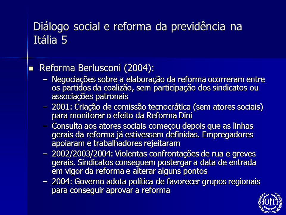 Diálogo social e reforma da previdência na Itália 5 Reforma Berlusconi (2004): Reforma Berlusconi (2004): –Negociações sobre a elaboração da reforma o