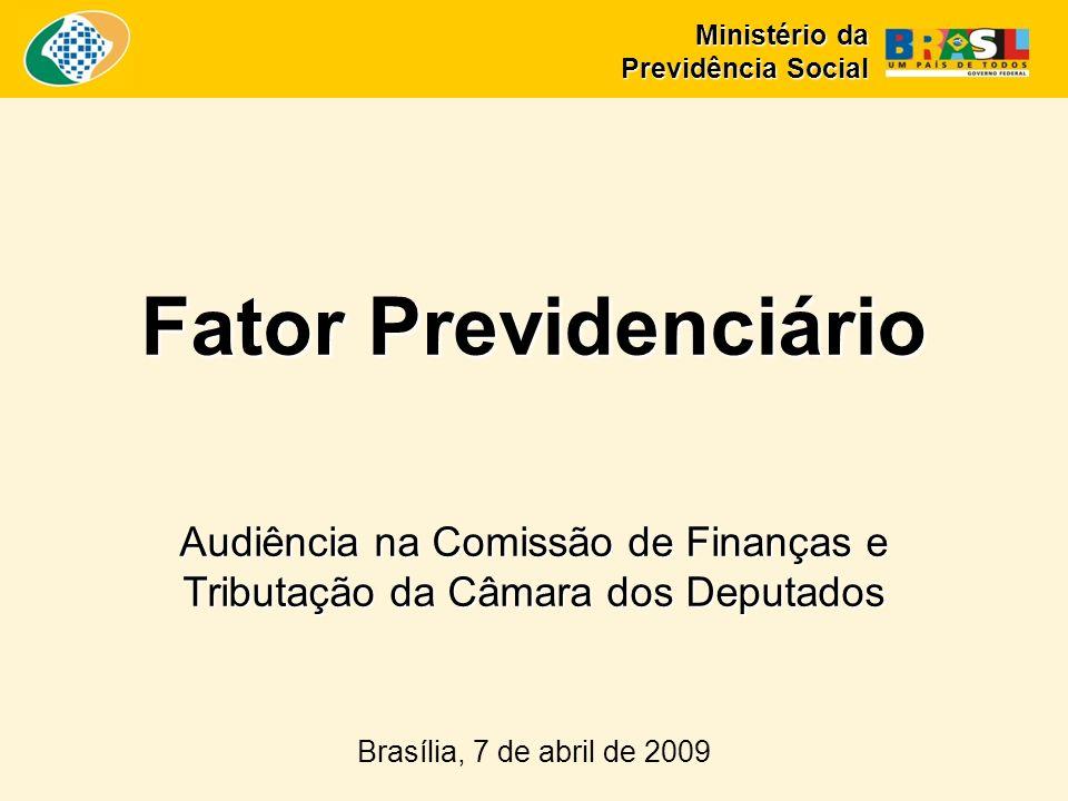 Fator Previdenciário Audiência na Comissão de Finanças e Tributação da Câmara dos Deputados Brasília, 7 de abril de 2009 Ministério da Previdência Social