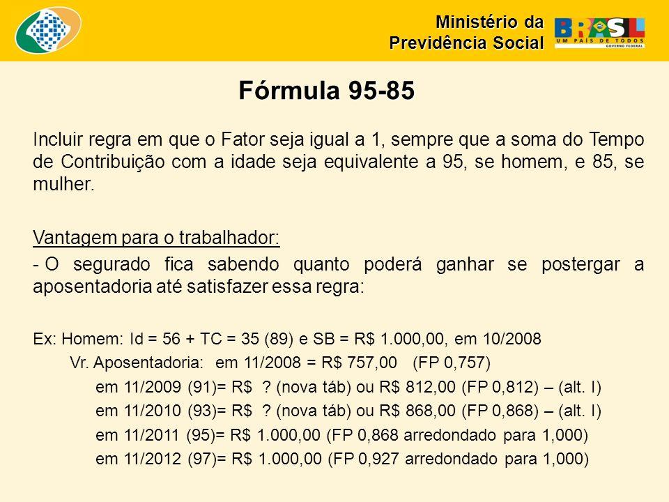 Incluir regra em que o Fator seja igual a 1, sempre que a soma do Tempo de Contribuição com a idade seja equivalente a 95, se homem, e 85, se mulher.