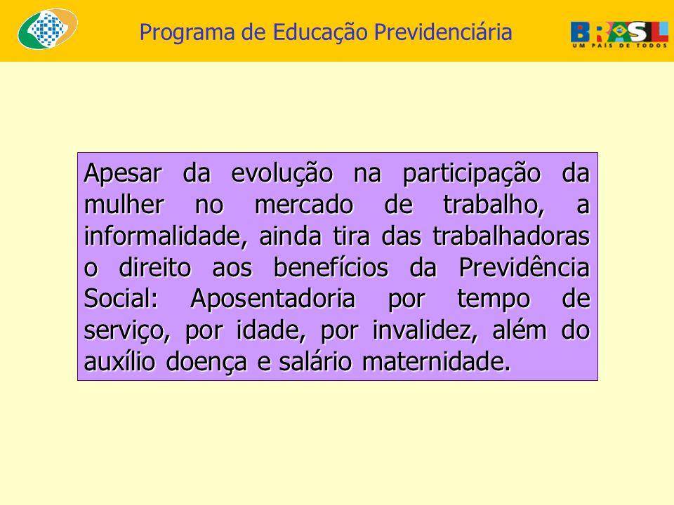 Programa de Educação Previdenciária Apesar da evolução na participação da mulher no mercado de trabalho, a informalidade, ainda tira das trabalhadoras