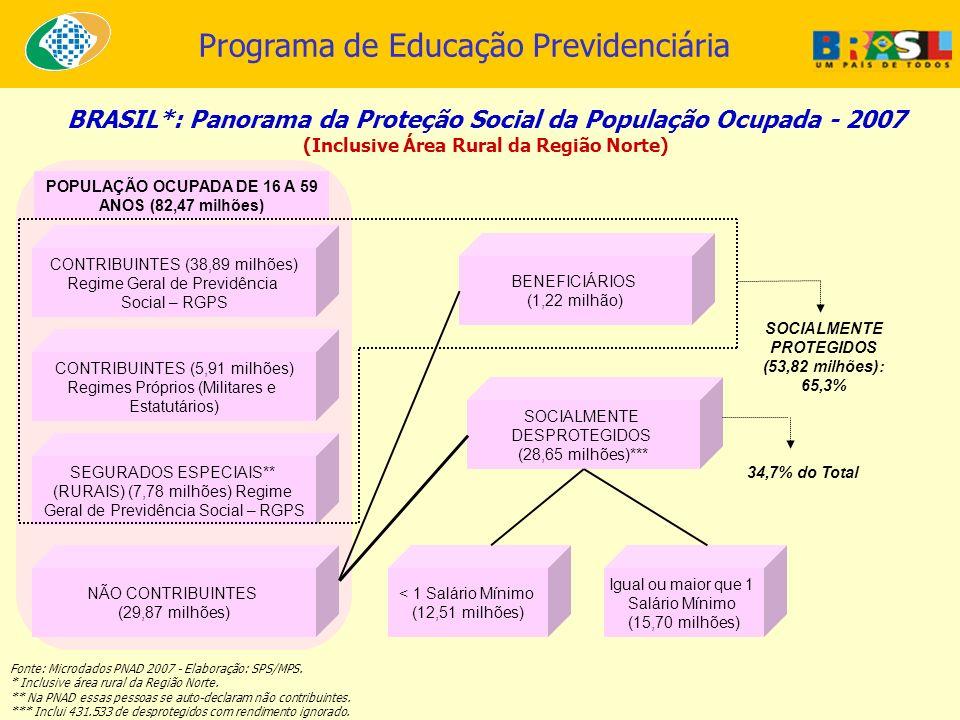 BRASIL*: Panorama da Proteção Social da População Ocupada - 2007 (Inclusive Área Rural da Região Norte) Fonte: Microdados PNAD 2007 - Elaboração: SPS/