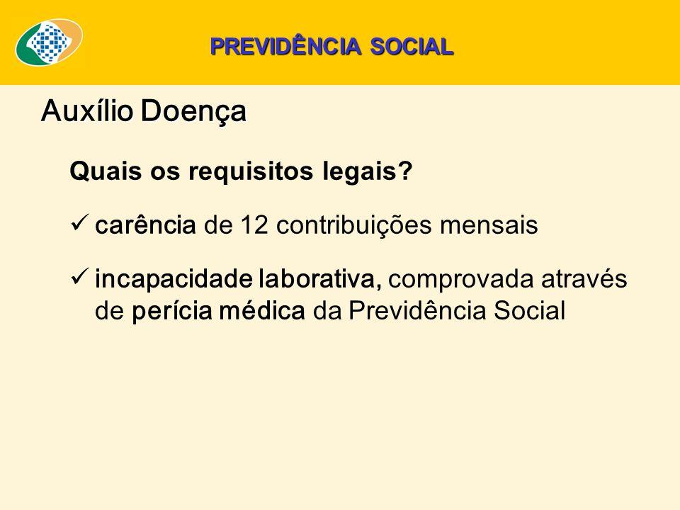 Quais os requisitos legais? carência de 12 contribuições mensais incapacidade laborativa, comprovada através de perícia médica da Previdência Social A