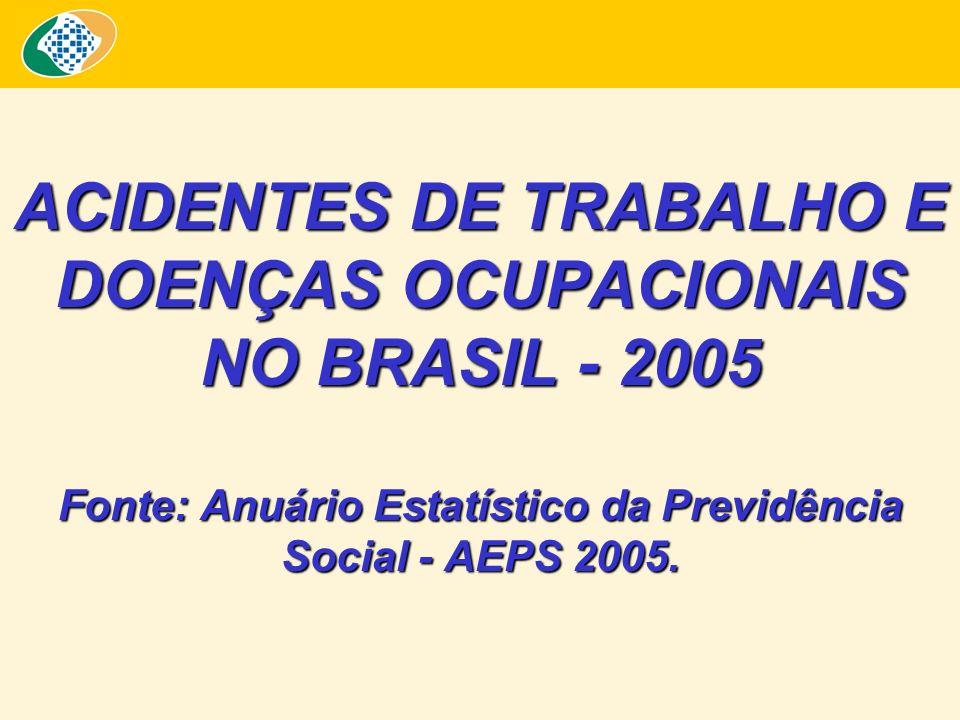 ACIDENTES DE TRABALHO E DOENÇAS OCUPACIONAIS NO BRASIL - 2005 Fonte: Anuário Estatístico da Previdência Social - AEPS 2005.