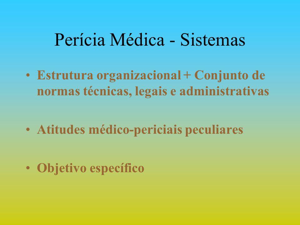 Perícia Médica - Sistemas Estrutura organizacional + Conjunto de normas técnicas, legais e administrativas Atitudes médico-periciais peculiares Objeti