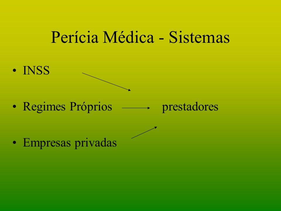 Perícia Médica - Sistemas INSS Regimes Próprios prestadores Empresas privadas