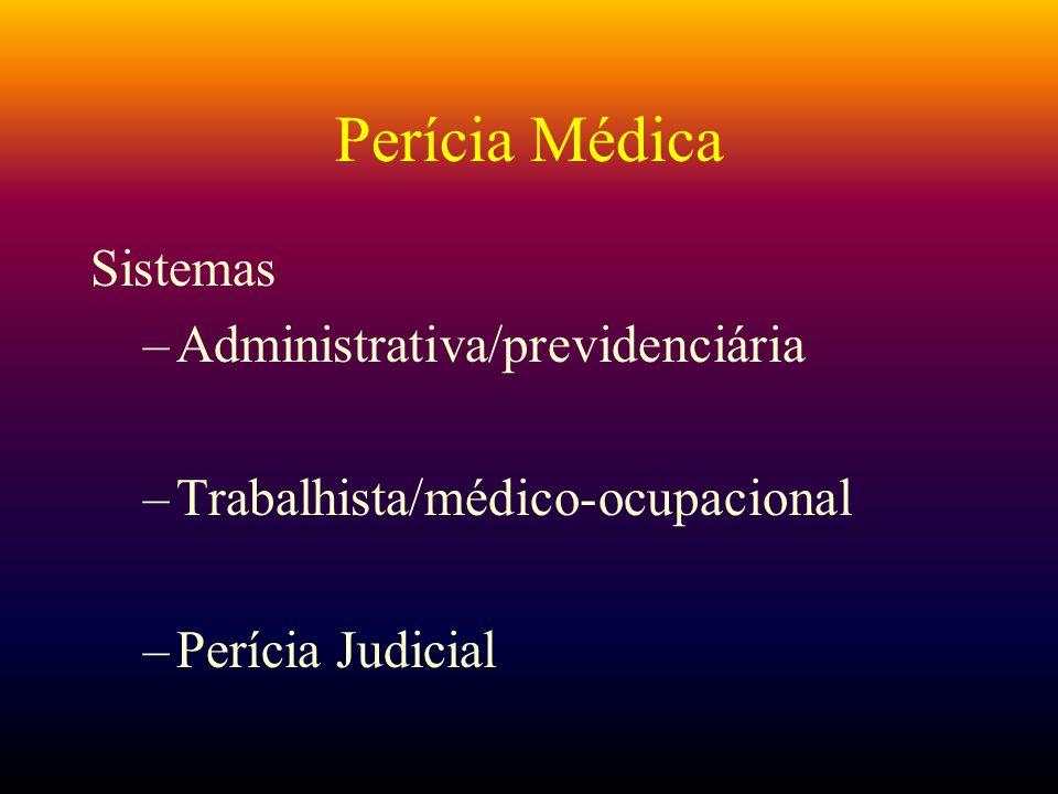 Perícia Médica Sistemas –Administrativa/previdenciária –Trabalhista/médico-ocupacional –Perícia Judicial