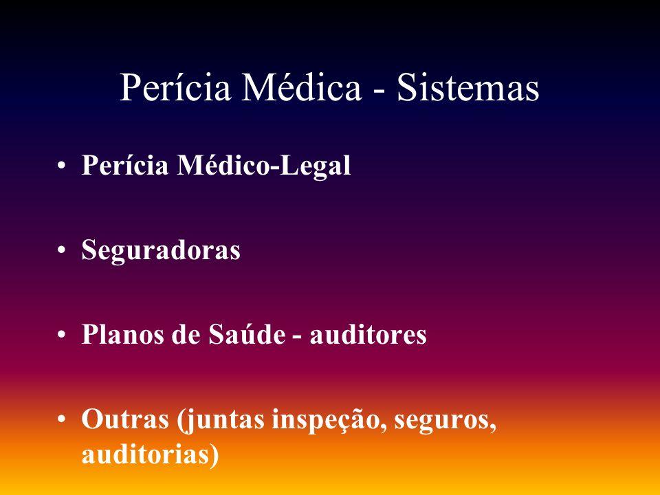 Perícia Médica - Sistemas Perícia Médico-Legal Seguradoras Planos de Saúde - auditores Outras (juntas inspeção, seguros, auditorias)