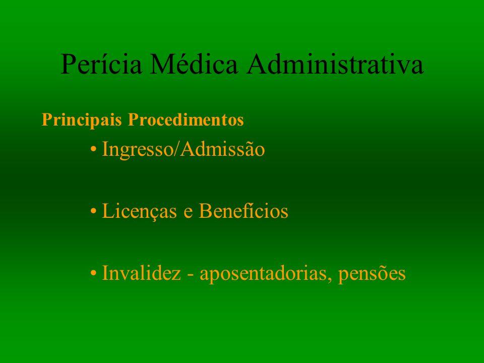 Perícia Médica Administrativa Principais Procedimentos Ingresso/Admissão Licenças e Benefícios Invalidez - aposentadorias, pensões