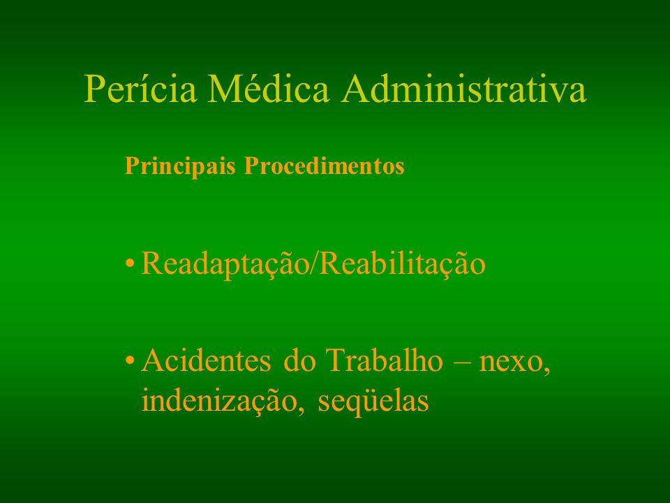 Perícia Médica Administrativa Principais Procedimentos Readaptação/Reabilitação Acidentes do Trabalho – nexo, indenização, seqüelas