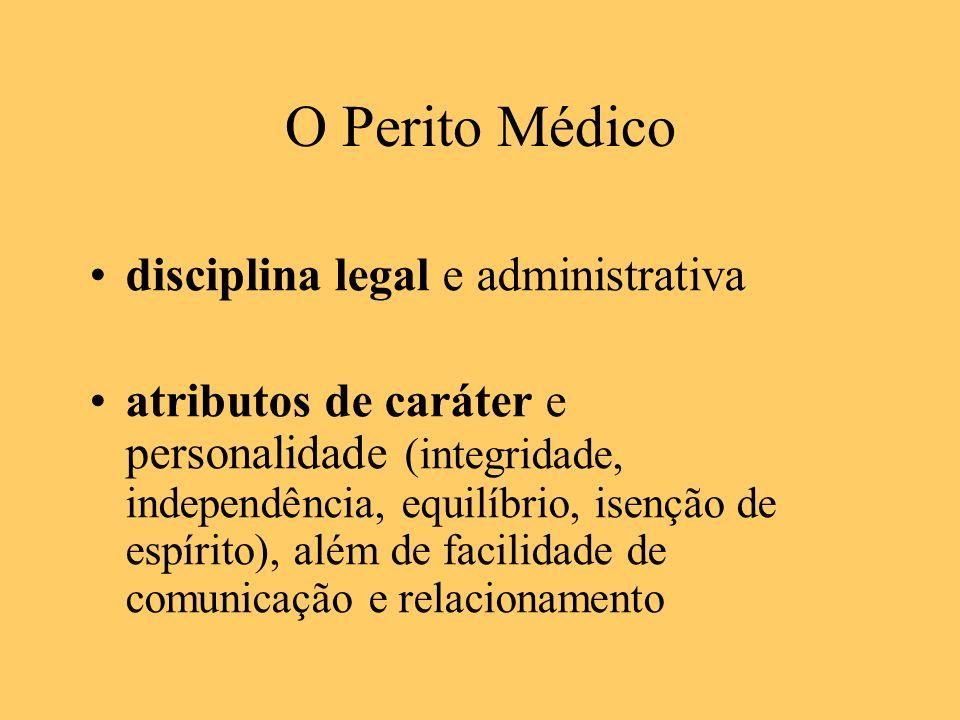 O Perito Médico disciplina legal e administrativa atributos de caráter e personalidade (integridade, independência, equilíbrio, isenção de espírito),