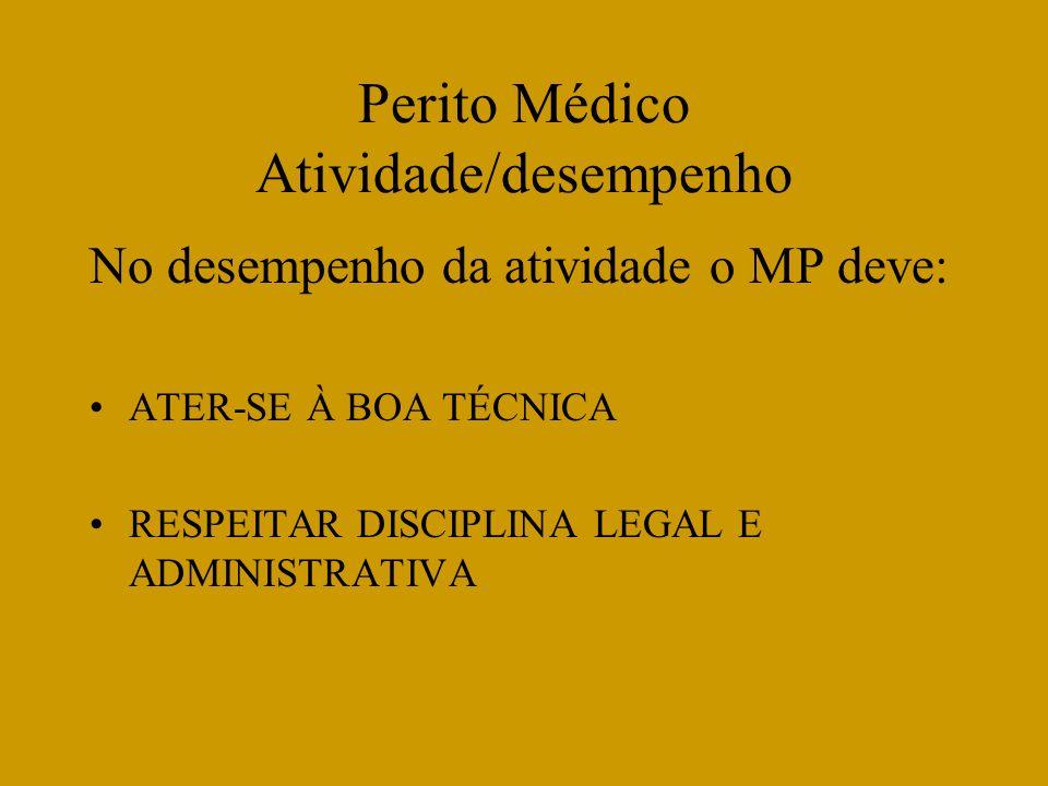 Perito Médico Atividade/desempenho No desempenho da atividade o MP deve: ATER-SE À BOA TÉCNICA RESPEITAR DISCIPLINA LEGAL E ADMINISTRATIVA