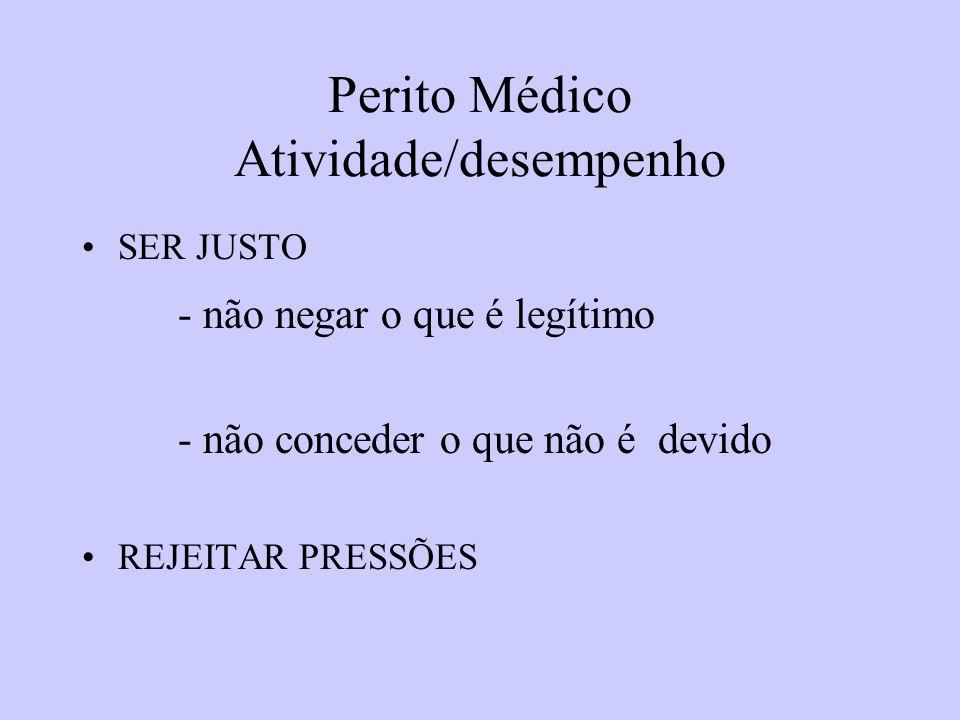 Perito Médico Atividade/desempenho SER JUSTO - não negar o que é legítimo - não conceder o que não é devido REJEITAR PRESSÕES