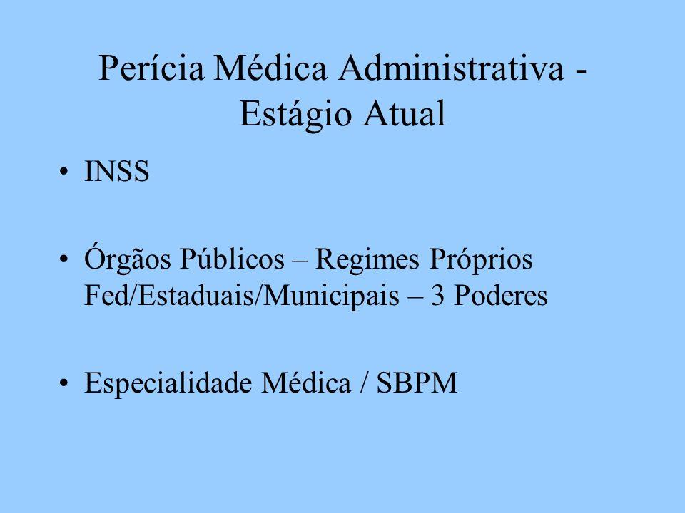 Perícia Médica Administrativa - Estágio Atual INSS Órgãos Públicos – Regimes Próprios Fed/Estaduais/Municipais – 3 Poderes Especialidade Médica / SBPM