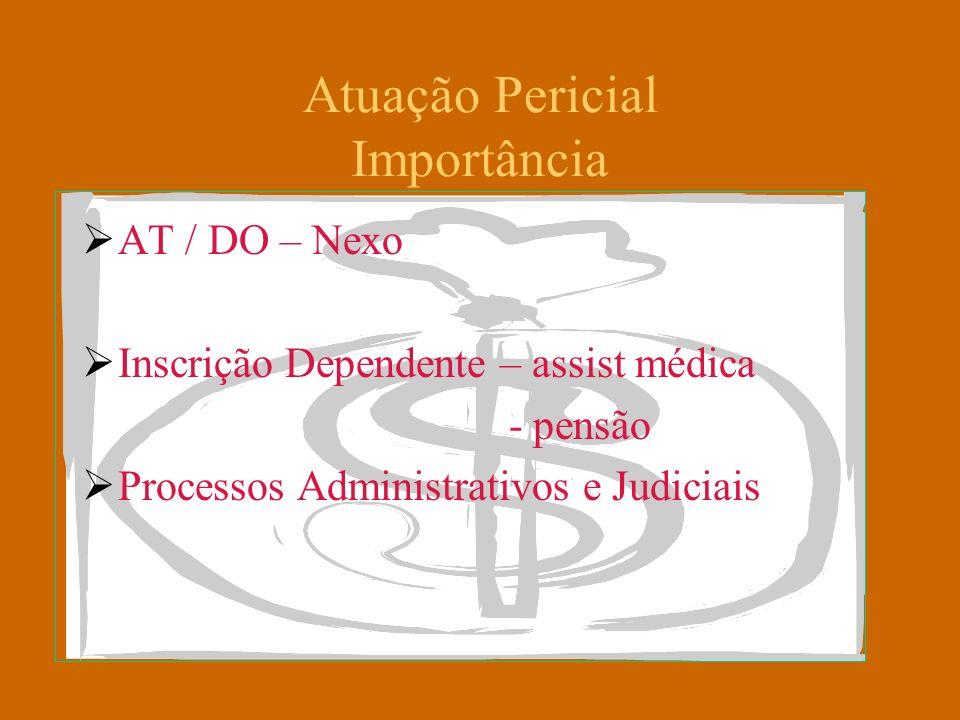 Atuação Pericial Importância AT / DO – Nexo Inscrição Dependente – assist médica - pensão Processos Administrativos e Judiciais