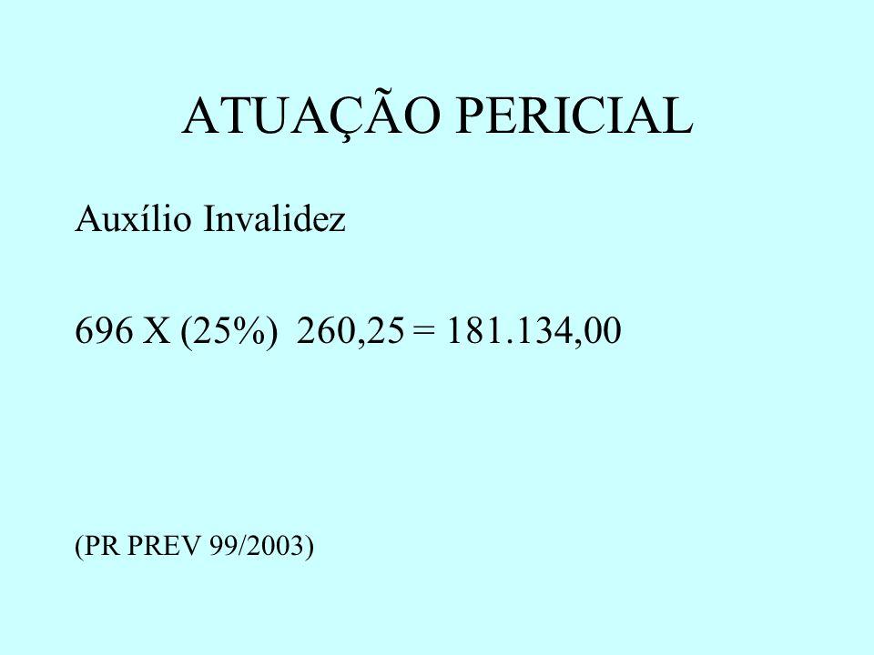 ATUAÇÃO PERICIAL Auxílio Invalidez 696 X (25%) 260,25 = 181.134,00 (PR PREV 99/2003)