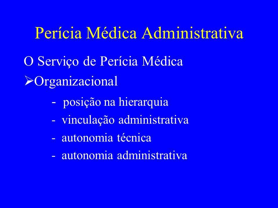 Perícia Médica Administrativa O Serviço de Perícia Médica Organizacional - posição na hierarquia - vinculação administrativa - autonomia técnica - aut
