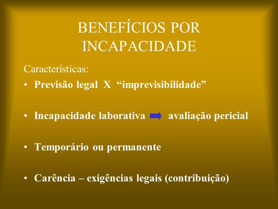 BENEFÍCIOS POR INCAPACIDADE Características: Previsão legal X imprevisibilidade Incapacidade laborativa avaliação pericial Temporário ou permanente Ca