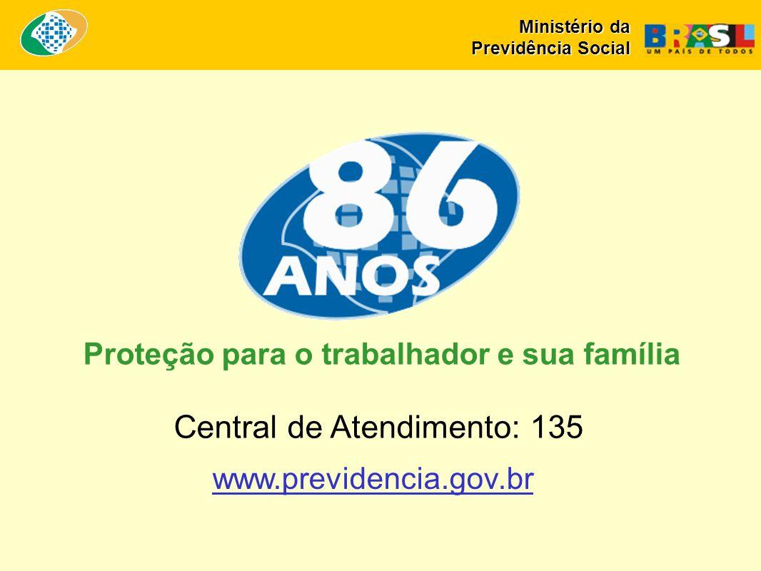 Central de Atendimento: 135 www.previdencia.gov.br Proteção para o trabalhador e sua família Ministério da Previdência Social