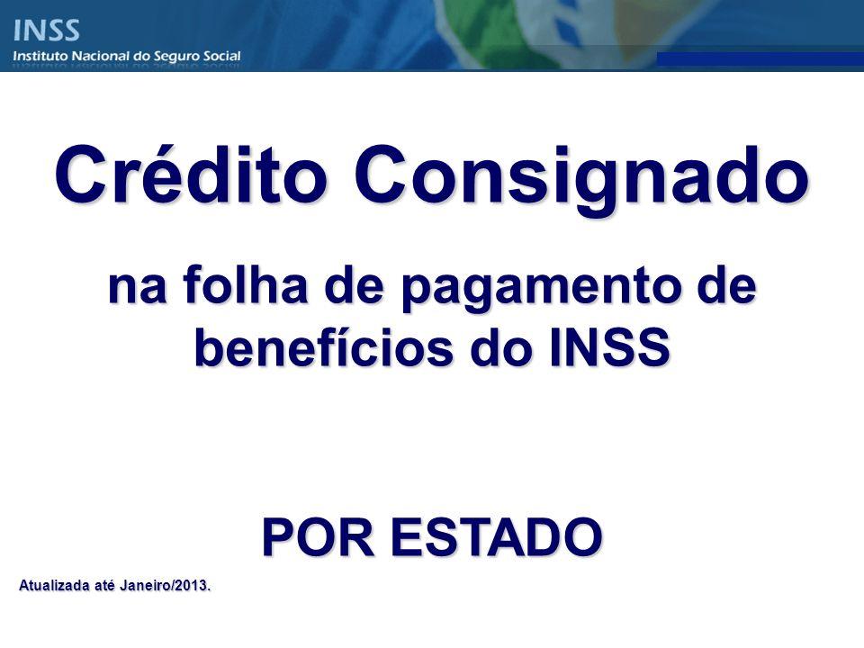 Crédito Consignado na folha de pagamento de benefícios do INSS POR ESTADO Atualizada até Janeiro/2013.