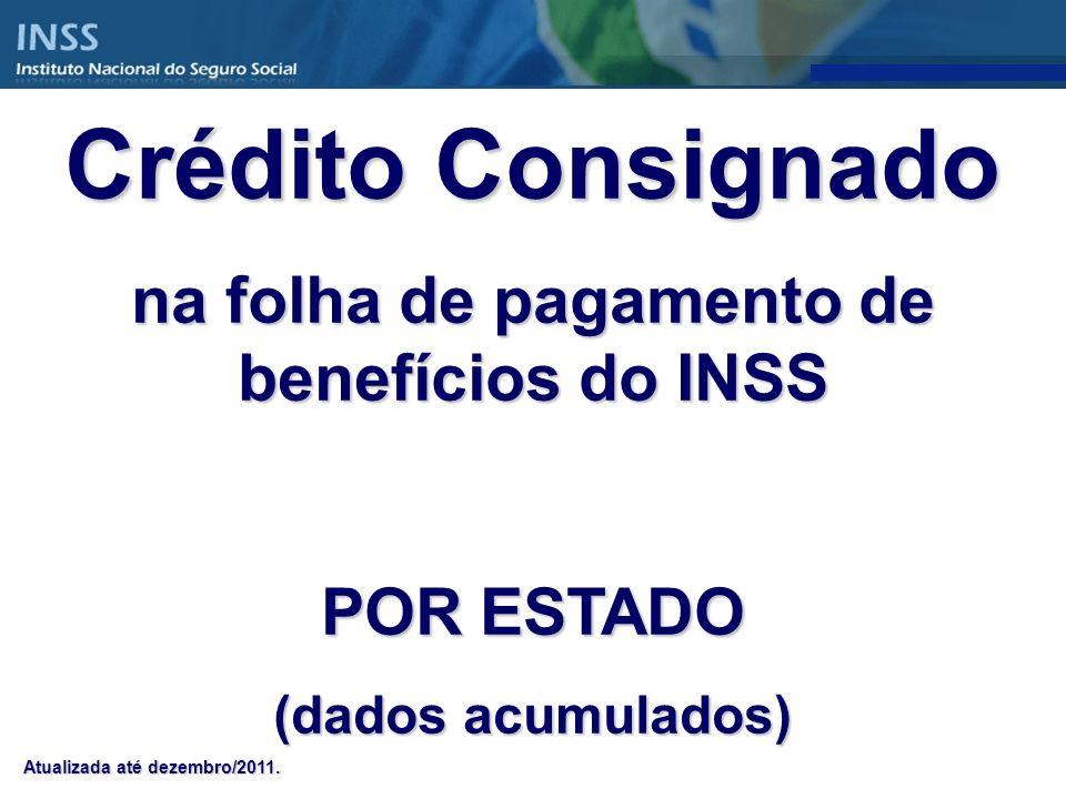 Crédito Consignado na folha de pagamento de benefícios do INSS POR ESTADO (dados acumulados) Atualizada até dezembro/2011.
