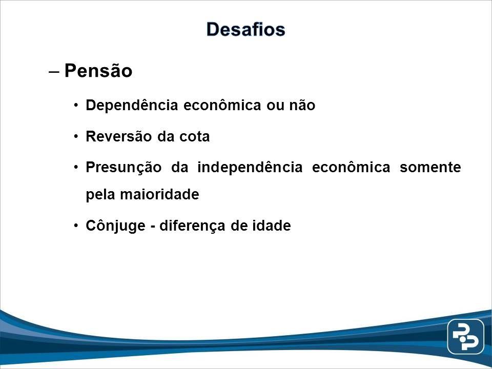 –Pensão Dependência econômica ou não Reversão da cota Presunção da independência econômica somente pela maioridade Cônjuge - diferença de idade