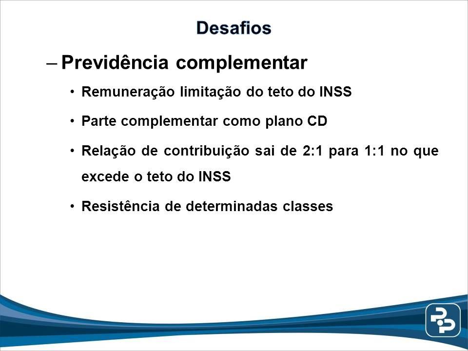 –Previdência complementar Remuneração limitação do teto do INSS Parte complementar como plano CD Relação de contribuição sai de 2:1 para 1:1 no que ex