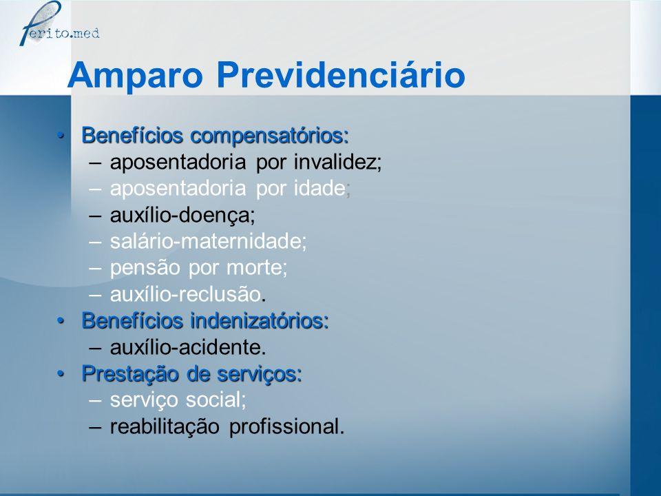 Amparo Previdenciário Benefícios compensatórios:Benefícios compensatórios: –aposentadoria por invalidez; –aposentadoria por idade; –auxílio-doença; –s