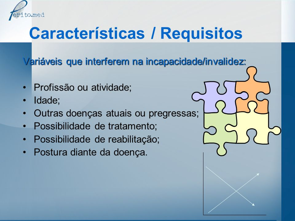 Características / Requisitos Variáveis que interferem na incapacidade/invalidez: Profissão ou atividade; Idade; Outras doenças atuais ou pregressas; P